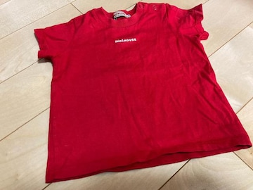 中古 美品 ミキハウス Tシャツ 80サイズ 赤 シンプル
