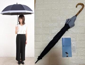 サンバリア100長傘Lサイズコンビ(紺ネイビー竹手元)完全遮光日傘