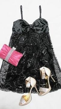 インポート黒リボンシルバーローズ薔薇ワンピドレスAライン