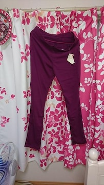 UNIQLO.ユニクロ少し古い型レギンスパンツ.purple.XLサイズ新品タグ付き