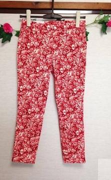 定価2290円 ユニクロ◆レッド 花柄 スキニー クロップ パンツ M