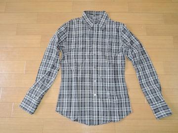 シェラックSHELLACチェックシャツ48灰系長袖
