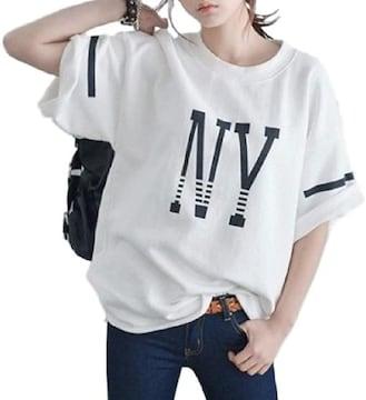 超人気1790円★ベストセラー ゆったり半袖 NY Tシャツ M白