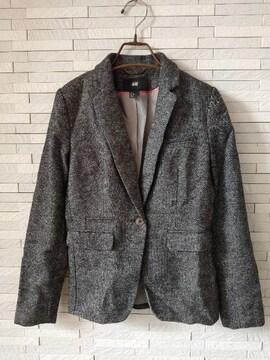 即決/H&M/ウール混厚手テーラードジャケット/グレー/32