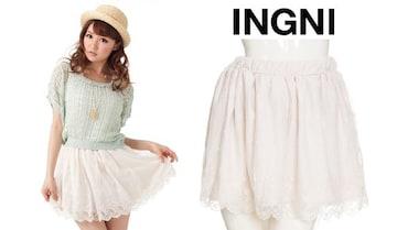 新品*INGNI*イング*チュールレーススカート*花柄ドット*ホワイト
