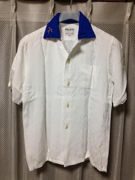 古着 ヴィンテージ 半袖ボーリングシャツ XS 白×青 バックプリント King Lovie