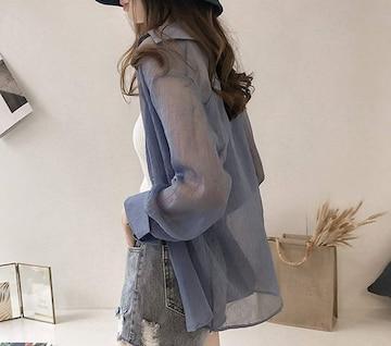 冷房対策にも!!シフォン シースルーブラウス(2XL・ブルー)