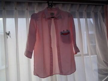 UP STARTのドレスシャツ(M)ピンク!。