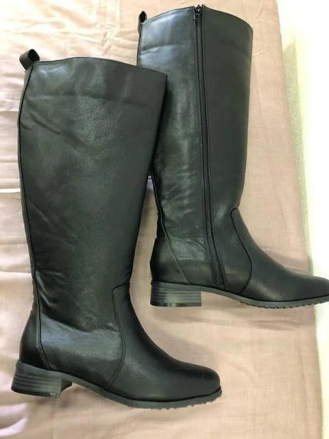 新品☆LL25〜25.5�p幅広5E履き口44�pロングブーツ黒☆dd259 < 女性ファッションの