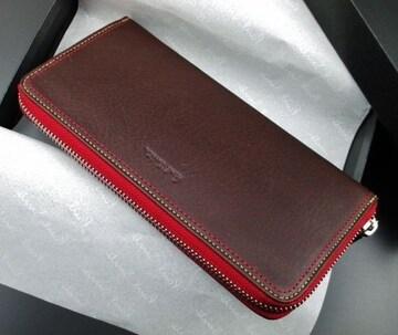 贈り物に 新品/箱付 ポールスミス ダブルステッチ 長財布 濃茶