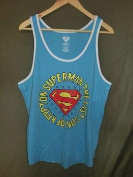 人気ヒーロー【SUPER MAN】ロゴプリント タンクトップUS L