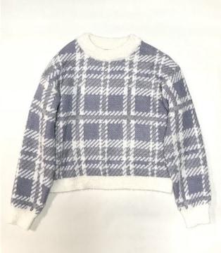 ロペピクニック〓水色ホワイト大チェック柄フェザーニットセーター(L)新品
