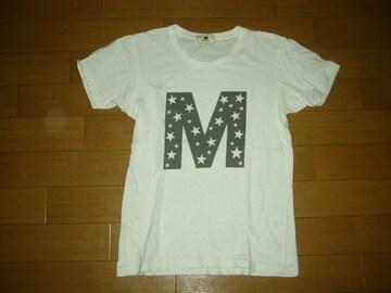 MエムTシャツM白系カットソー☆星柄ロゴTMT