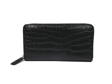 正規未使用ノンブランドクロコダイルオーストリッチ財布黒