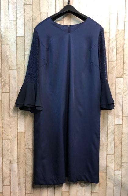 新品☆Lサイズ紺パーティワンピースおでかけフォーマル☆s904  < 女性ファッションの