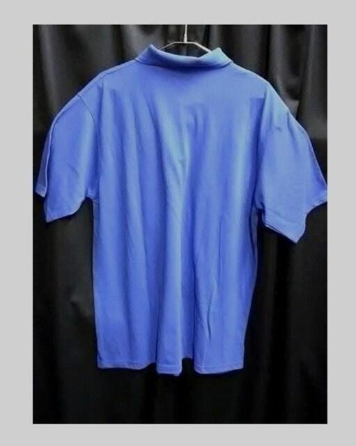 新品ビッグシルエット着回し抜群★ポロシャツブルーXL無地 < 男性ファッションの