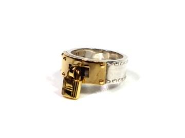 正規エルメスケリーリング51指輪カデナコンビ男女兼用アク