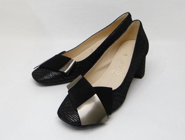 ギンザヨシノヤ ZOCAL リボンパンプス ブラック系 35(約22.5cm)<美品>  < 女性ファッションの