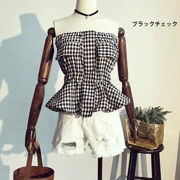 レディース服 ギンガムチェック ベアトップf9015