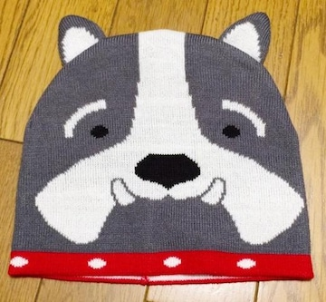 R】インポートニット帽子ワンちゃん 薄手
