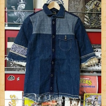 masterkey マスターキー 新品 デニムシャツ 1 ペイズリー柄 麻 定価19440円