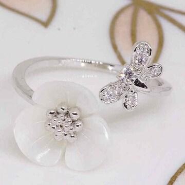 指輪18KRGPプラチナ高級CZ蝶々フラワーリングyu1036e