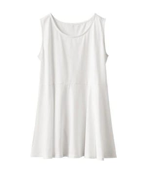 ★ヒラヒラ裾見せ体型カバー白ホワイト綿チュニックタンクトップ