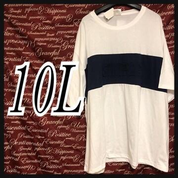 10L・SIMPLEロゴ胸切替Tシャツ新品/MC03P-107