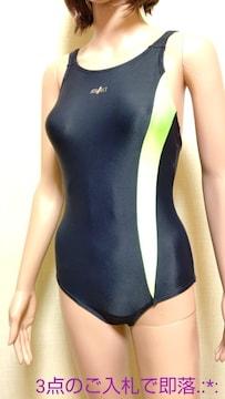 美品☆小松ニット☆光沢つる�Aネオンの競泳水着4952☆3点で即落