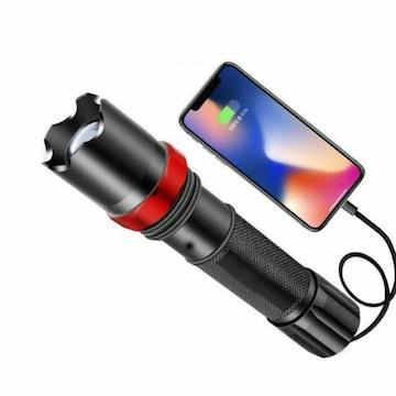 USB☆ケーブル付き☆懐中電灯 led USB充電式 強力 防水 携帯電話