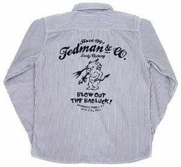 テッドマン/刺繍/ヒッコリーストライプ/ワークシャツ/tshb-1100hc/エフ商会/カミナリモータース
