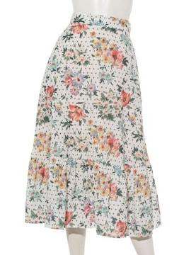 レイカズン 花柄ドットギャザー切替ロングスカート