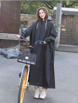 二重つば付 レインコート 自転車用 通勤 通学  ロング
