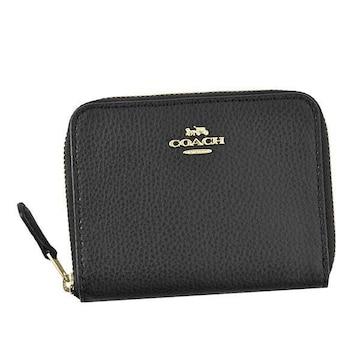 ◆新品本物◆コーチ スモール ジップ アラウンド 2つ折財布(BK)『F24808』◆