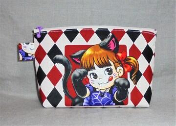◆ペコちゃん◆猫耳猫コス・赤黒ダイヤ柄◆両面同柄ファスナーポーチ