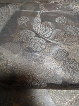 袋帯 刺繍 シルバー 鶴 美品