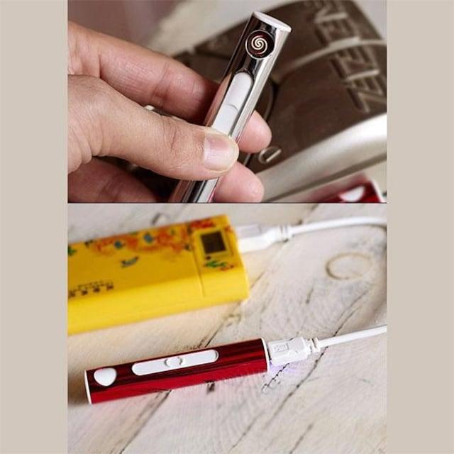 �溺 スリムなスティック型 USB充電 電子ライター GD < 男性ファッションの