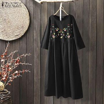 新品大きいサイズ6L〜8L ゆったり花刺繍マキシワンピース 黒