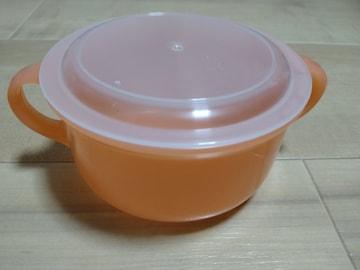 ★スープカップ★ふた付き★電子レンジOK★オレンジ系★箱付き★