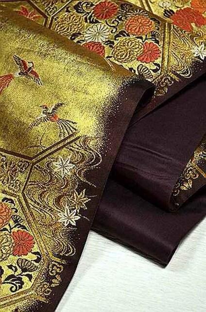 千鳥294*こげ茶に金箔 花鳥柄 上品な袋帯 美品 < 女性ファッションの