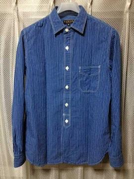 A VONTADE アボンタージ ストライプ柄 長袖シャツ Sサイズ 青ブルー×白 日本製