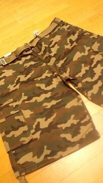 LA直輸入PROCLUB迷彩カーゴハーフパンツ ウッドランドカモ W44〜46位ベルト付