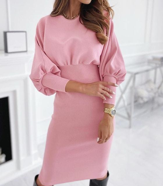 袖ふんわり*リブ切替*ひざ丈ロングワンピース*ピンク*伸縮性有り < 女性ファッションの