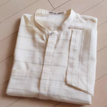 ◆美品◆GUSTAVTHONI◆メンズ◆ノーカラーシャツ◆ベージュ◆L◆