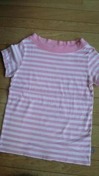 キャンツーパフ袖ピンクボーダーカットソTシャツ