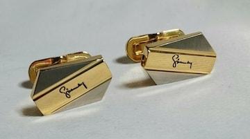 正規美 ジバンシィGIVENCHY ロゴ文字カフス 金×銀 ゴールド×シルバーカフリンクス