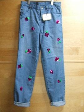ミュベールmuveilバラ刺繍デニム38パンツ新品コットン