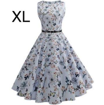 新品☆ベルト付き♪花柄♪ふんわり綺麗ワンピース XL