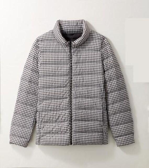 イオン ギンガムチェックダウンジャケット収納袋付きLサイズ  < 女性ファッションの