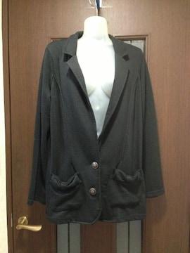新品LL~3L★しまむら★黒ジャケット/リボンポッケ/スエット